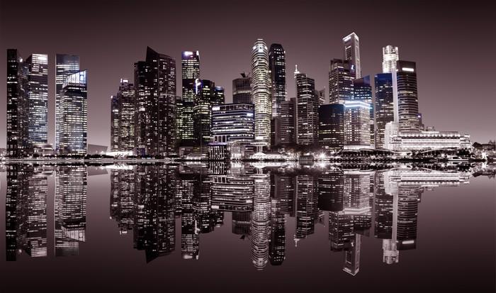 Vinylová Tapeta Singapur centru noční pohled - Jiné