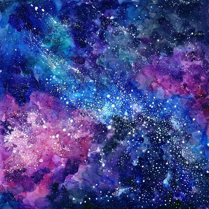 Fototapete Handgemalten Aquarell Hintergrund. kosmische Textur mit ...
