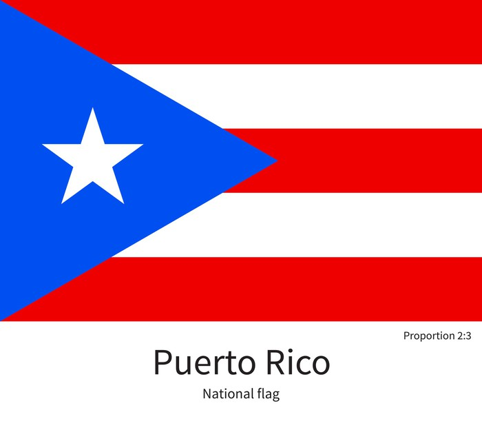 National Flag Of Puerto Rico With Correct Proportions Element