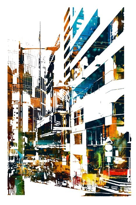 tableau sur toile ville urbaine moderne illustration peinture pixers nous vivons pour changer. Black Bedroom Furniture Sets. Home Design Ideas