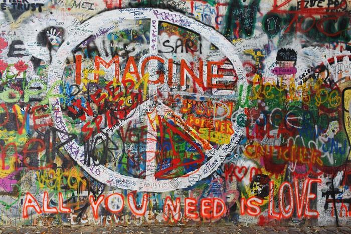 Vinylová fototapeta Colourfull mír graffiti na zeď - Vinylová fototapeta