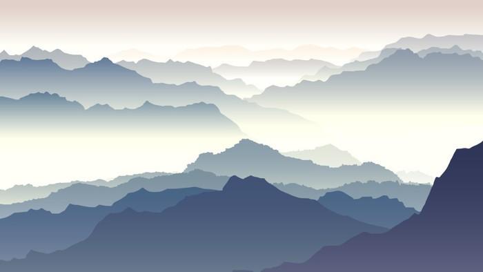 Carta da parati illustrazione orizzontale del crepuscolo for Carta da parati per casa in montagna
