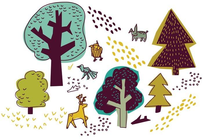 Pixerstick Sticker Bos en dieren isoleren op wit natuur design elementen. - Gebouwen en Architectuur