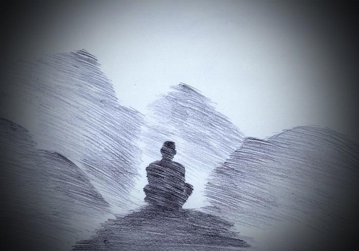 Pixerstick Dekor Buddhistisk munk i fjällen - Religion och kultur