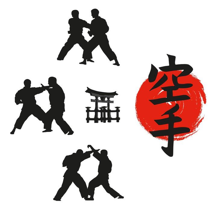Vinylová fototapeta Hieroglyf karate a muži demonstrující karate. - Vinylová fototapeta