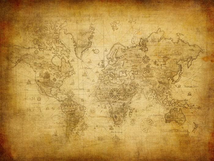 Tableau sur Toile Ancienne carte du monde. - Thèmes