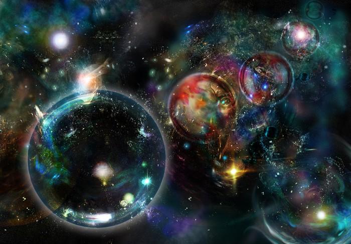 Pixerstick Aufkleber Cosmic Nebulas und rätselhaften Kreisen - Planeten