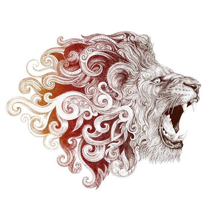 Papier peint t te de lion tattoo souriant pixers nous - Tattoo tete de lion ...
