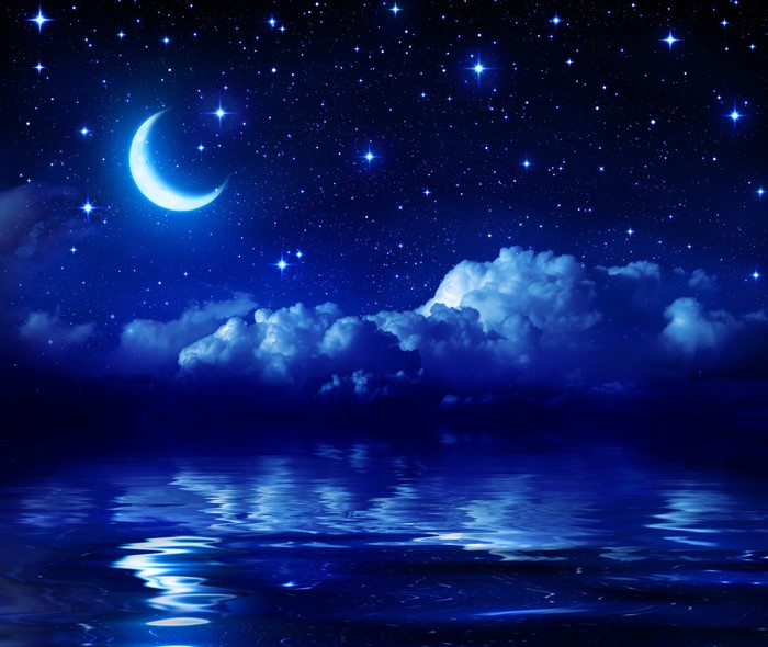 Starry Night With Crescent Moon On Sea Wall Mural Pixers