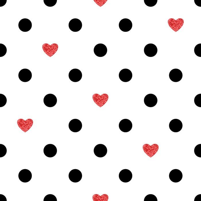 Vinylová Tapeta Puntíky vzor s červeným srdcem. Romantické pozadí. - Pozadí