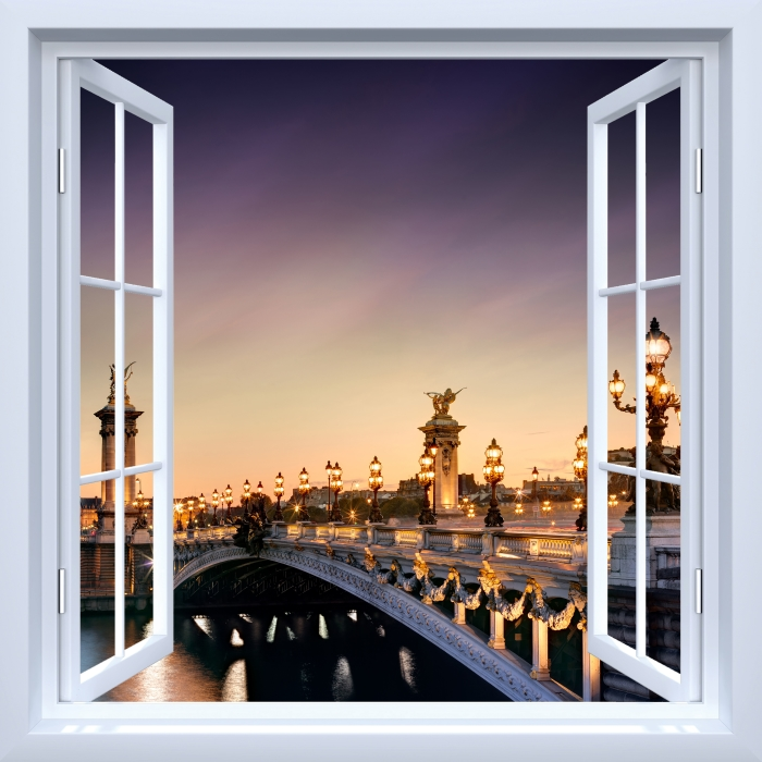 White Window Open Bridge In Paris Wall Mural Pixers We Live
