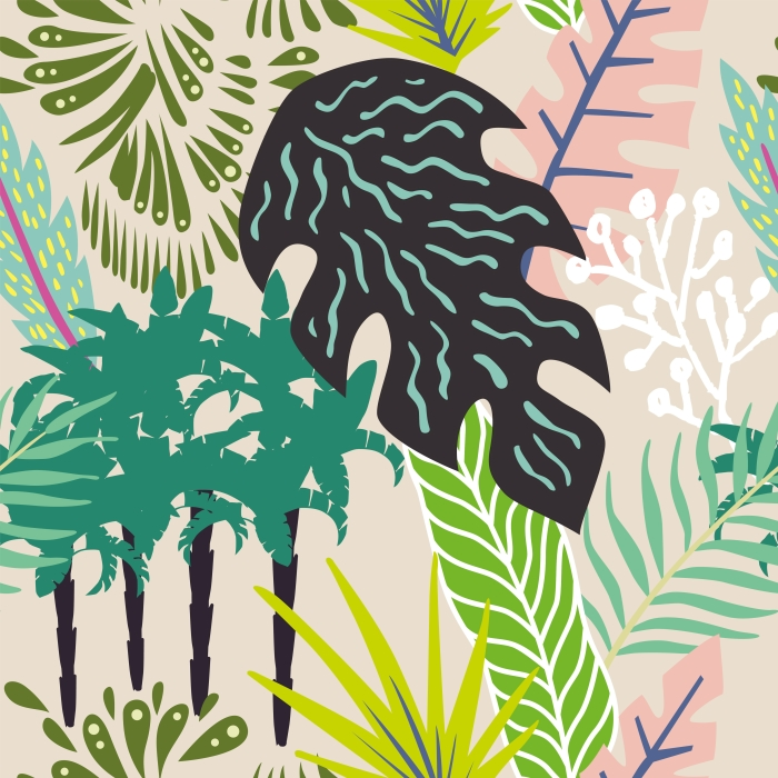 Abstract leaves and palm trees Self-Adhesive Wall Mural - Summer